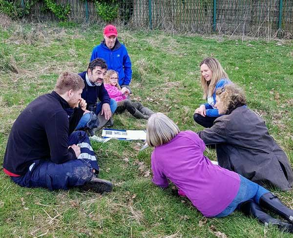 Volunteers at pond ecology pond training session with ecologist Andrew Westgarth 2